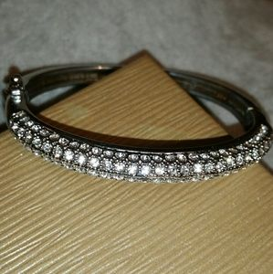 Lia Sophia Silver, Crystal Pave' Hinged Bangle